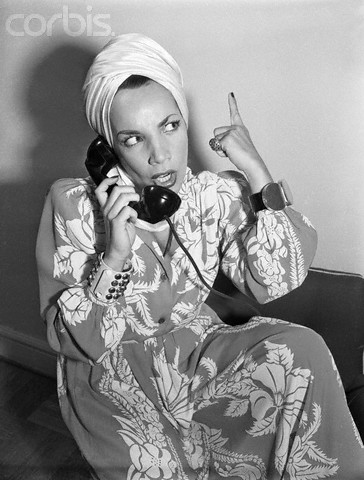 Carmen Miranda Speaking on telephone
